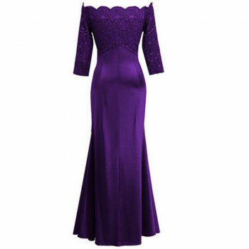 Long Sleeve Dress lace Together Cultivate One's Morality - PURPLE L