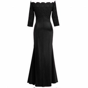 Long Sleeve Dress lace Together Cultivate One's Morality - BLACK S