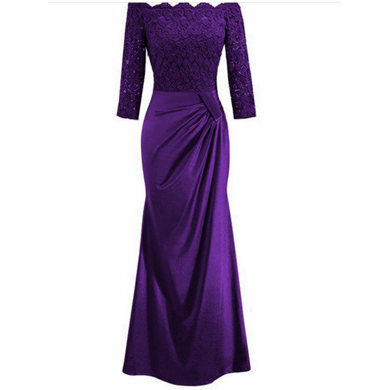 Long Sleeve Dress lace Together Cultivate One's Morality - PURPLE 2XL