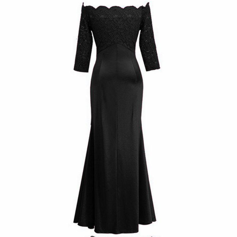 Long Sleeve Dress lace Together Cultivate One's Morality - BLACK XL