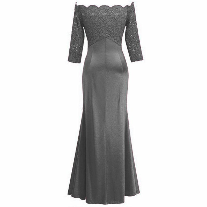 Long Sleeve Dress lace Together Cultivate One's Morality - GRAY S