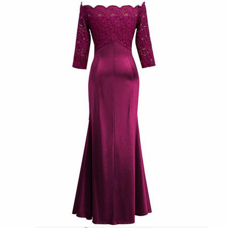 Long Sleeve Dress lace Together Cultivate One's Morality - ROSE RED S