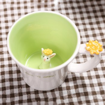 550ML Good Morning Rabbit Cup - GREEN GREEN