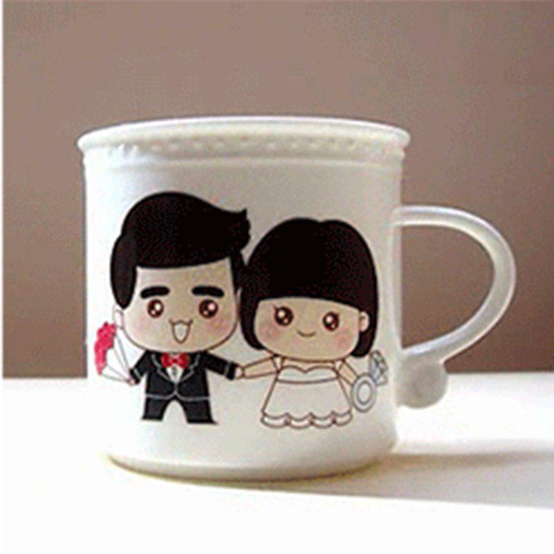 320ML Color Changing Cup for Lovers - BLACK WHITE