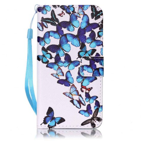 Painted PU Phone Case for Samsung Galaxy A5 - BLUE