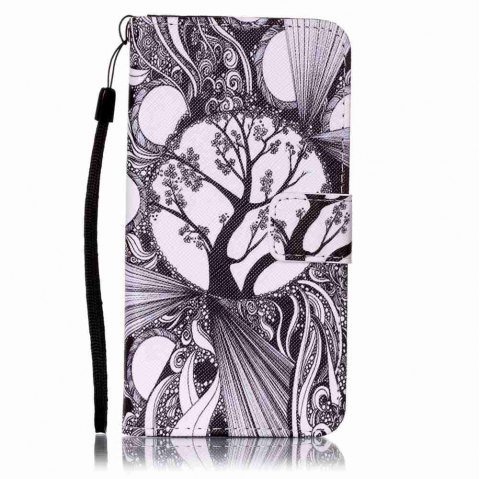 Painted PU Phone Case for Samsung Galaxy A5 - BLACK WHITE