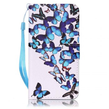 Painted PU Phone Case for Samsung Galaxy A5 - BLUE BLUE