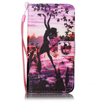 Painted PU Phone Case for Samsung Galaxy A5 - PURPLE PURPLE