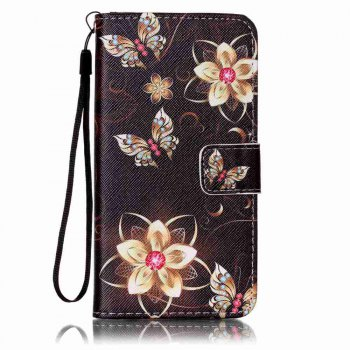 Painted PU Phone Case for Samsung Galaxy A5 - BLACK GOLD BLACK GOLD