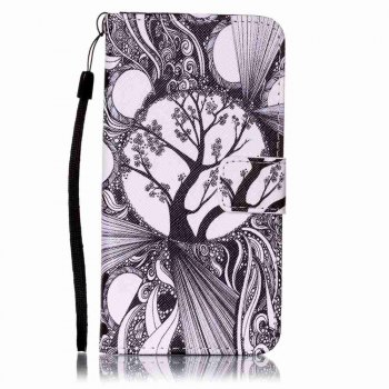 Painted PU Phone Case for Samsung Galaxy A5 - BLACK WHITE BLACK WHITE