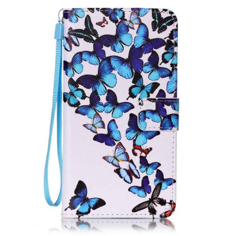 Painted PU Phone Case for Samsung Galaxy J7 - BLUE