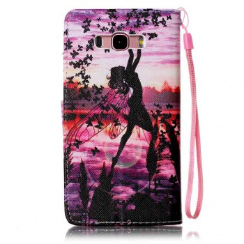 Painted PU Phone Case for Samsung Galaxy J7 - PURPLE