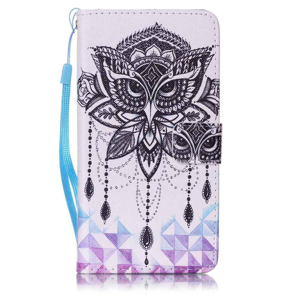 Painted PU Phone Case for Samsung Galaxy J7 - WHITE