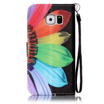 Painted PU Phone Case for Samsung Galaxy S6 - BLACK/RED