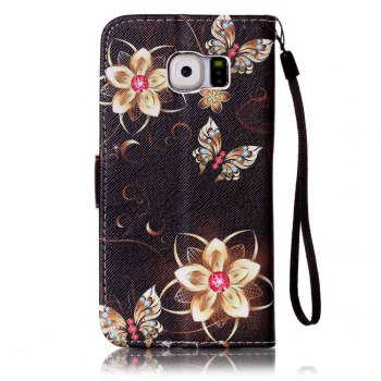 Painted PU Phone Case for Samsung Galaxy S6 - BLACK GOLD