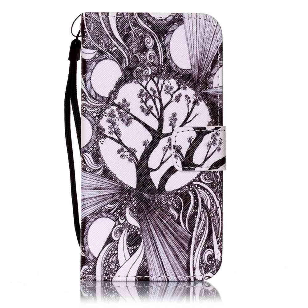 Painted PU Phone Case for Samsung Galaxy S6 - BLACK WHITE