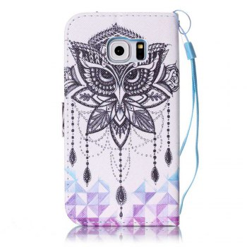 Painted PU Phone Case for Samsung Galaxy S6 Edge - WHITE