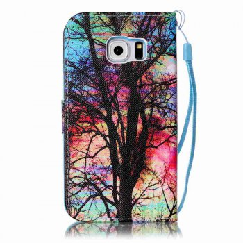 Painted PU Phone Case for Samsung Galaxy S6 Edge - RED