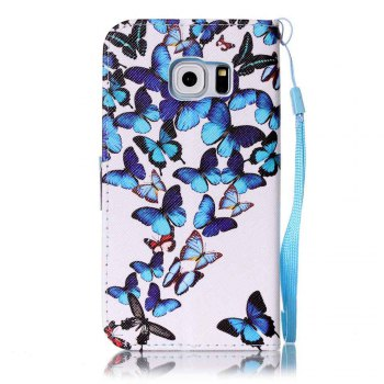 Painted PU Phone Case for Samsung Galaxy S6 Edge - BLUE