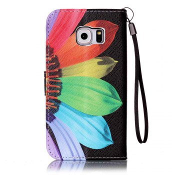 Painted PU Phone Case for Samsung Galaxy S6 Edge - BLACK/RED