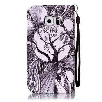 Painted PU Phone Case for Samsung Galaxy S6 Edge - BLACK WHITE