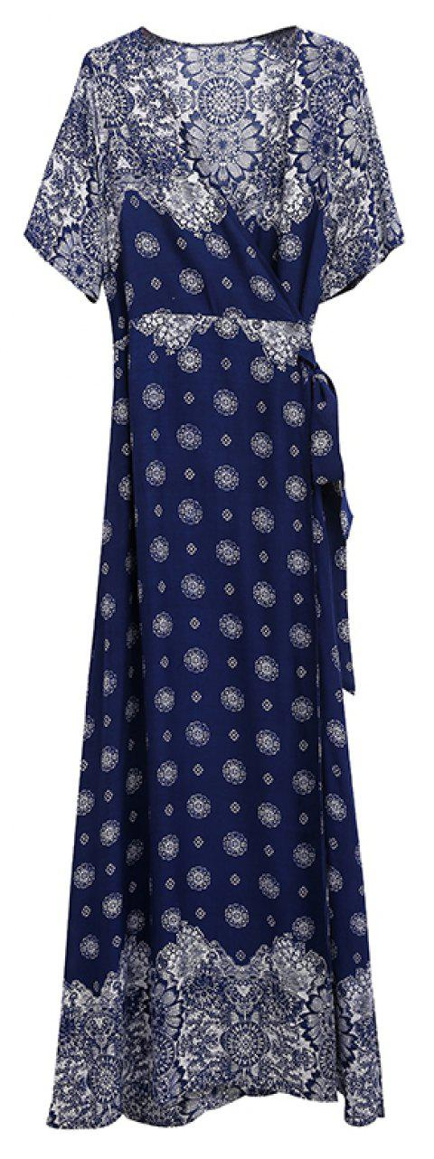 V-neck Printing  with Short Sleeves Collect Waist Dress - BLUE 3XL