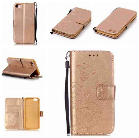 Single Embossed - Butterfly Flower PU Phone Case for iPhone 7 / 8 - GOLDEN