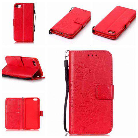 Single Embossed - Butterfly Flower PU Phone Case for iPhone 7 / 8 - RED