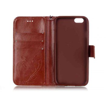 Single Embossed - Butterfly Flower PU Phone Case for iPhone 7 / 8 - BROWN