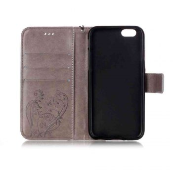 Single Embossed - Butterfly Flower PU Phone Case for iPhone 7 / 8 - GRAY