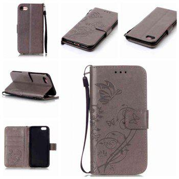 Single Embossed - Butterfly Flower PU Phone Case for iPhone 7 / 8 - GRAY GRAY