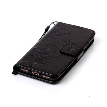 Single Embossed - Butterfly Flower PU Phone Case for iPhone 7 / 8 - BLACK