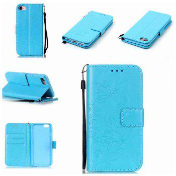 Single Embossed - Butterfly Flower PU Phone Case for iPhone 7 / 8 - WINDSOR BLUE WINDSOR BLUE
