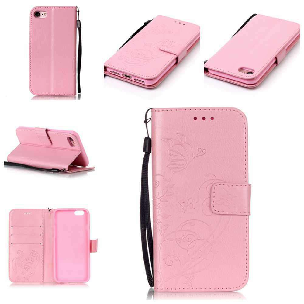 Single Embossed - Butterfly Flower PU Phone Case for iPhone 7 / 8 - PINK