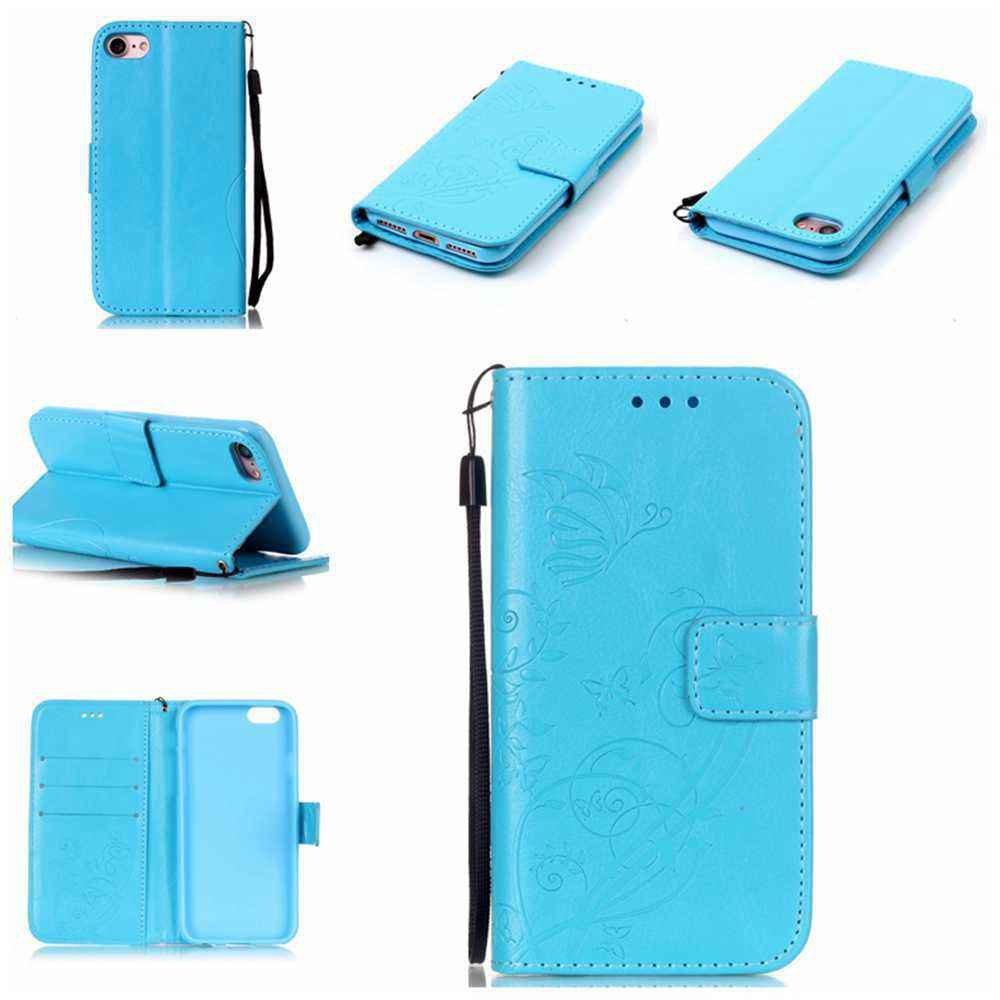 Single Embossed - Butterfly Flower PU Phone Case for iPhone 7 / 8 - WINDSOR BLUE