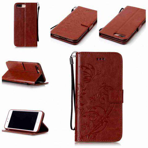 Single Embossed - Butterfly Flower PU Phone Case for iPhone 7 Plus / 8 Plus - BROWN