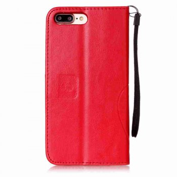 Single Embossed - Butterfly Flower PU Phone Case for iPhone 7 Plus / 8 Plus - RED
