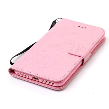 Single Embossed - Butterfly Flower PU Phone Case for iPhone 7 Plus / 8 Plus - PINK