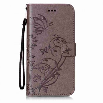 Single Embossed - Butterfly Flower PU Phone Case for iPhone 7 Plus / 8 Plus - GRAY