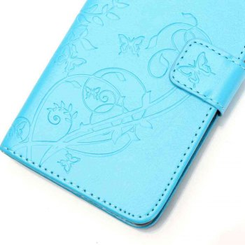 Single Embossed - Butterfly Flower PU Phone Case for iPhone 7 Plus / 8 Plus - WINDSOR BLUE