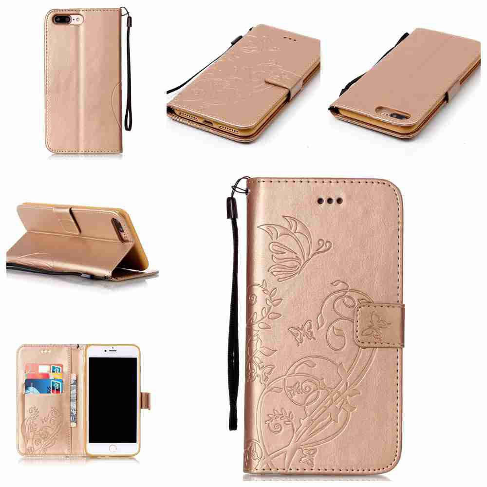 Single Embossed - Butterfly Flower PU Phone Case for iPhone 7 Plus / 8 Plus - GOLDEN
