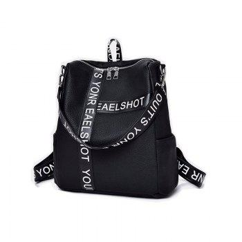 Casual Wild Shoulder Bag Printed Letter Design Backpack -  BLACK