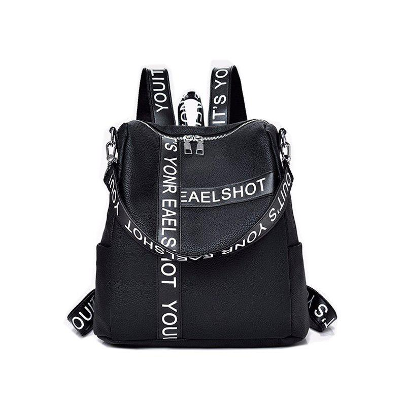 Casual Wild Shoulder Bag Printed Letter Design Backpacks - BLACK