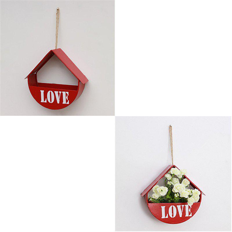 Wall Mounted Shelf Flower Living Room Bedroom Decoration 1pc - RED