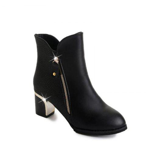 High Heels and Zipper Warm Martin Boots in The Fall - BLACK 34