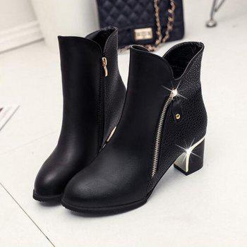 High Heels and Zipper Warm Martin Boots in The Fall - BLACK BLACK