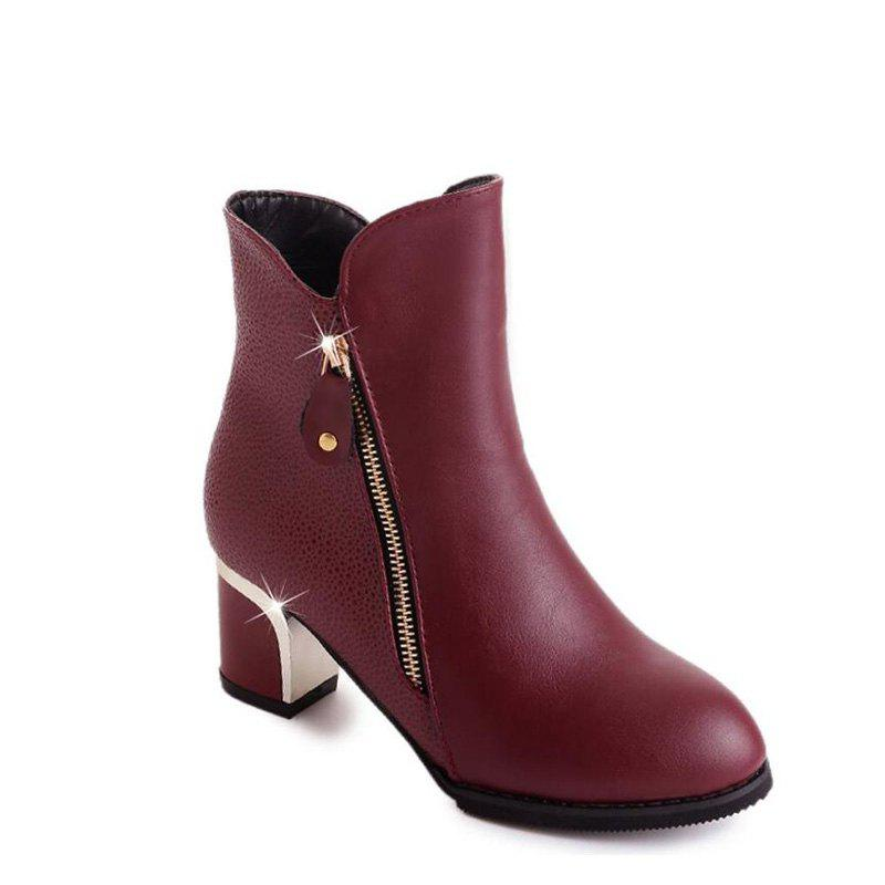 High Heels and Zipper Warm Martin Boots in The Fall - BURGUNDY 35