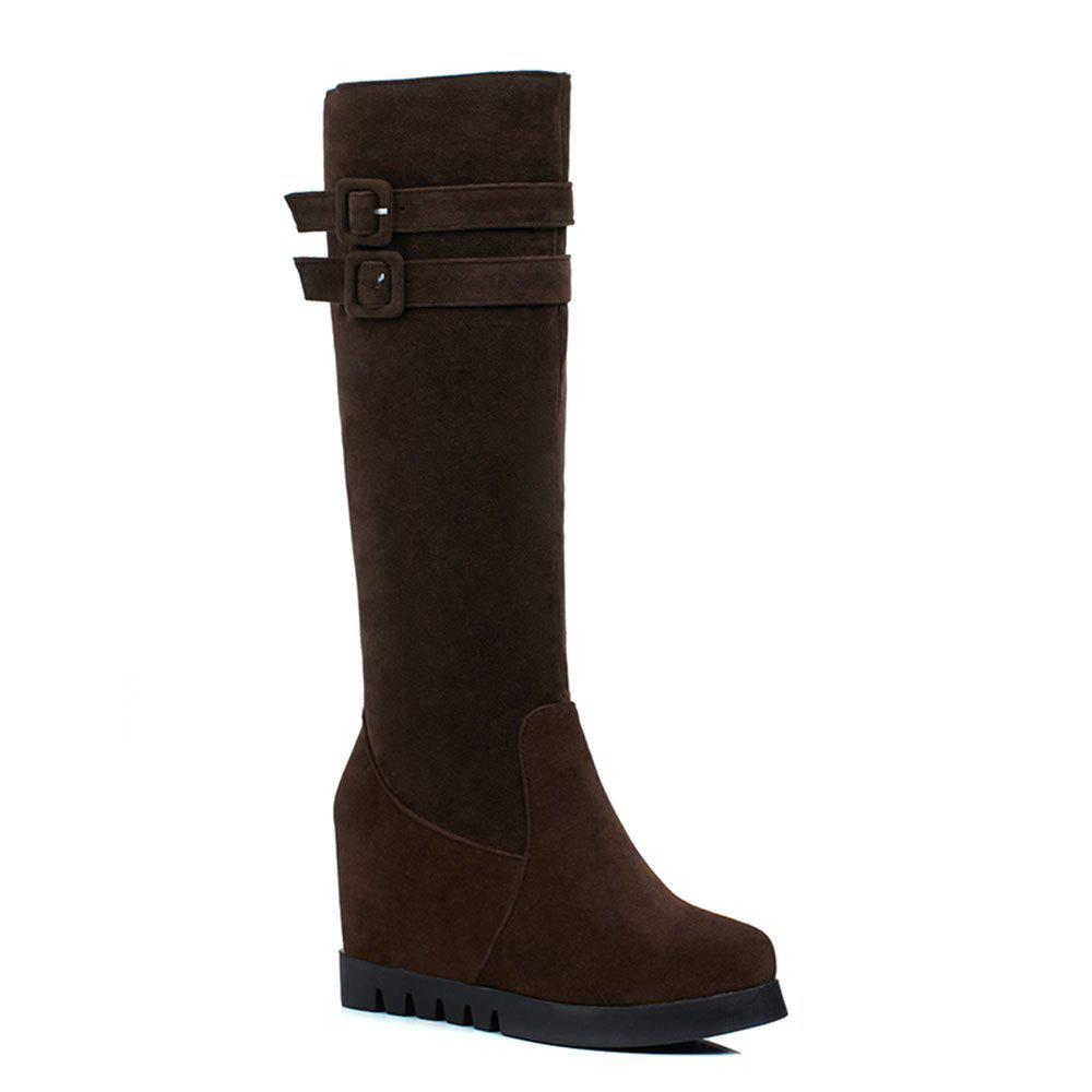 The High Heel Side Zipper Boots of The New Autumn Winter Belt Buckle - BROWN 34