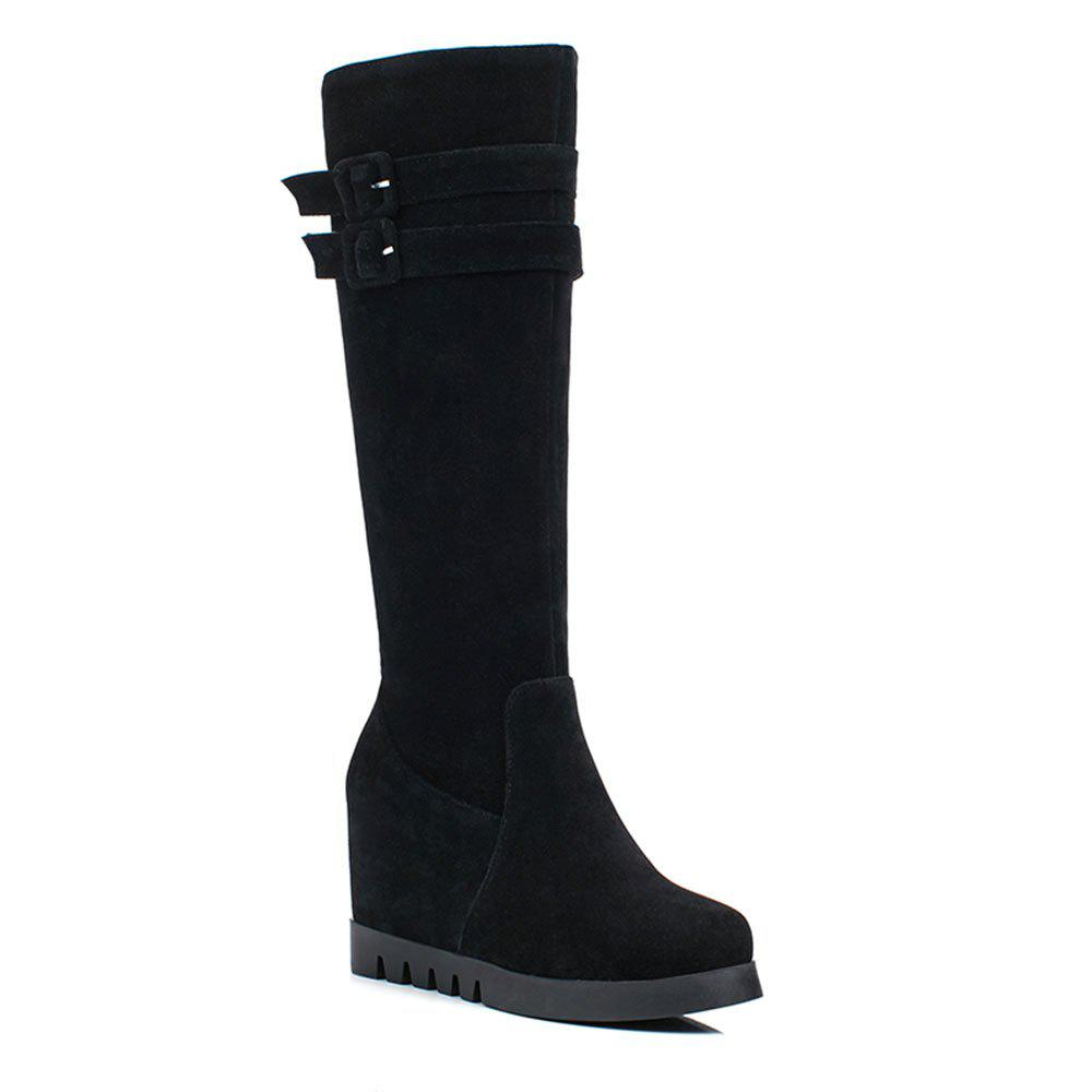 The High Heel Side Zipper Boots of The New Autumn Winter Belt Buckle - BLACK 35