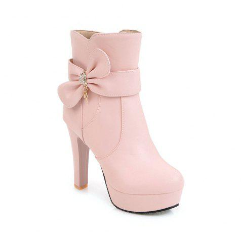 New High Heel Sweet Bow Fashionable Female Ankle Boots - PINK 35